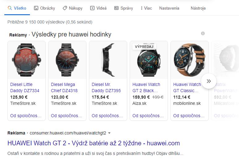 Google SERP panel s produktami featured snippet - porozumenie search intent