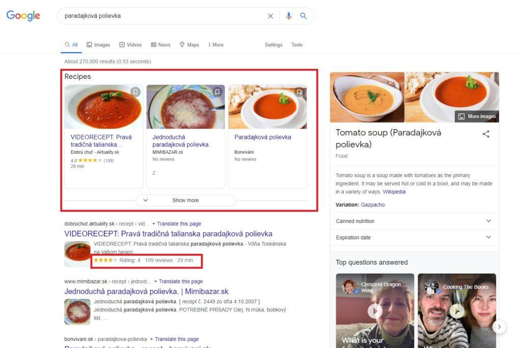 ukážka rich snippets z google vyhľadávania